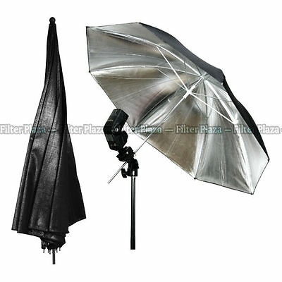 PRO 33''inch 83cm Photography Studio Flash Light Reflector Black Silver Umbrella