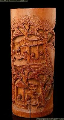 Old Chinese Brush Holder Made of Hand-Carved Bamboo Wood