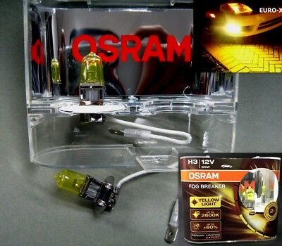 H3 OSRAM 12V55W Fog Breaker 2600K Deep Yellow Fog Spot Light Bulb Agtc x 2 pcs