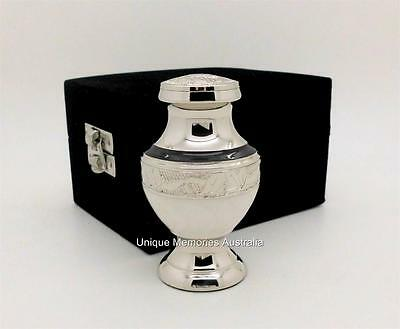"3"" Solid Brass Keepsake Remembrance Cremation Memorial Funeral Urn + Velvet Case"