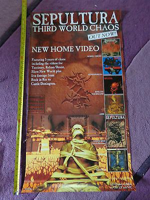 SEPULTURA third world chaos_USED_RARE PROMO POSTER_ships from AUSTRALIA!