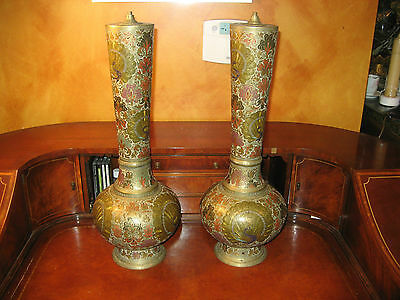 """Pair of 23"""" Large Heavily Etched & Painted Brass Vases Marked Menges On Bottoms"""