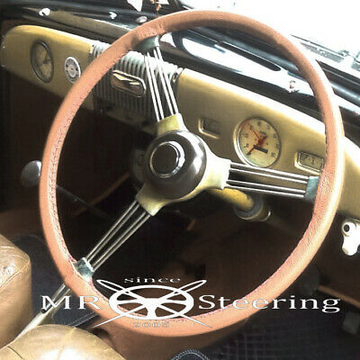 For Morris Minor Real Beige Leather Steering Wheel Cover 1948-1971 Top Quality