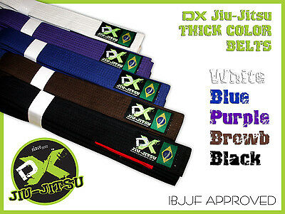 DX Brazilian BJJ Belt Jiu-Jitsu Gii Belt Black, Brown, Purple, Blue, and White