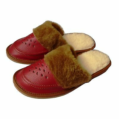Ladies,Women`s Leather Slippers, Winter 35, 36, 37, 38, 39, 40, 41, Red Pantofle
