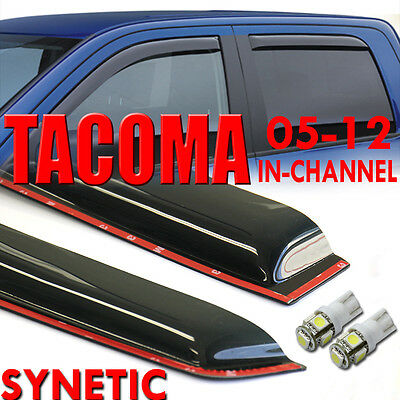 05-15 Tacoma Crew Cab Smoke Window Vent Visors In-Channel+White T10/194/921 LED