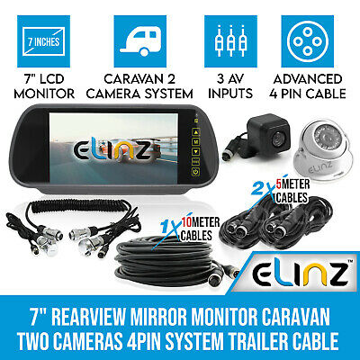"7"" Rearview Monitor Caravan 2 Reversing Camera 4PIN System Kit CCD Trailer cable"