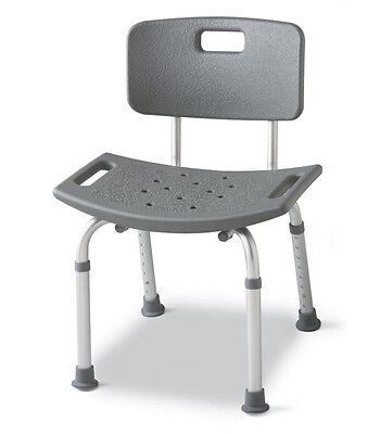 Medline Adjustable Guardian Bath Bench Shower Seat Chair Stool with Back Bathtub