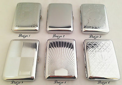 POCKET CIGARETTE - CHROME - METAL TOBACCO BOX CASE - TIN BOX - ROLL UPS