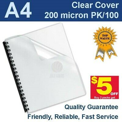 New A4 Clear Binding Covers 200 Micron (PK 100)
