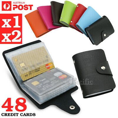 Mens Slim PU Leather ID Credit Card Holder Pocket Case Purse Wallet For 48 Cards