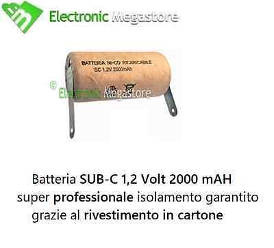 10pz BATTERIA RICARICABILE NI-CD SC 1,2V 2000mAh 22x42mm A SALDARE BC2046-10 CAR