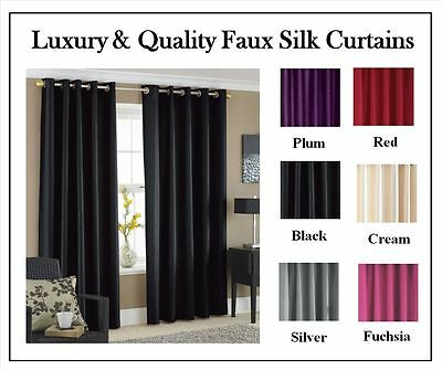 Luxury Faux Silk Ready Made Pair Of Curtains With Tie Backs - Fully Lined Soft