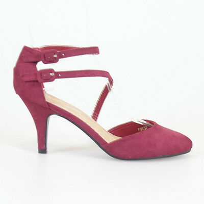 Woman Shoes Classic Suede Burgundy Red Strappy Mid Heels Evening Party Wedding