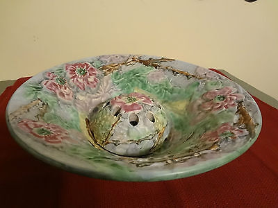 Beautiful Large Antique Weller Pottery Silvertone Flower Frog Fruit Console Bowl