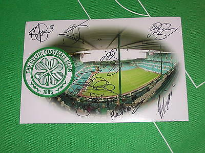 Celtic Stadium Photograph Signed by 8 Former Players Lennon Hooper Collins etc