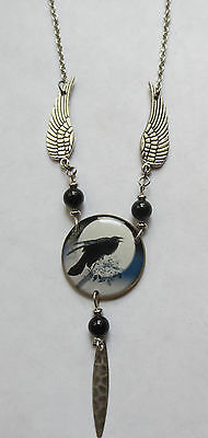 Mystical Raven with Wings Necklace Raven Totem Necklace