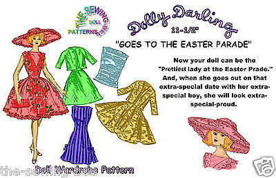 Dolly Darling Easter Parade wardrobe Doll Pattern for Barbie 11.5""