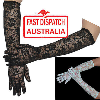 Long Sleeves Party Prom Goth Gothic Punk Wedding Floral Lace Stretchy Gloves