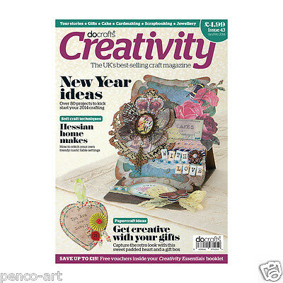 Docrafts creativity magazine Jan 2014 no. 43 +FREE diary papers & 7pc stamp set