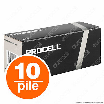 10 Batterie Duracell Industrial Procell Pile Alcaline Torcia D