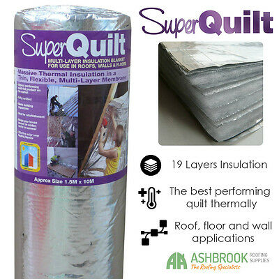YBS Superquilt Multi Foil Insulation |10m x 1.5m | Roofs Walls and Floors
