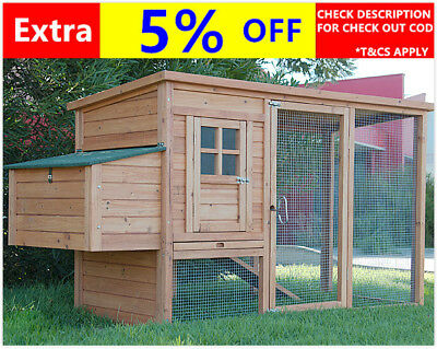 LARGE Chicken Coop Rabbit Hutch Ferret Cage Hen Chook House