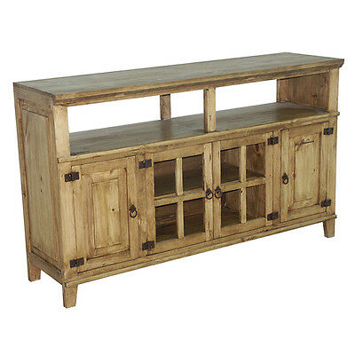 "60""  Rustic TV Stand Western Solid Wood Rustic Console Glass Doors Cabin Lodge"
