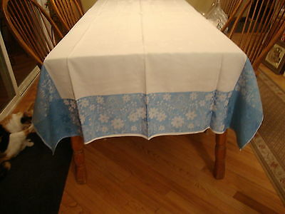 White Damask Table Cloth with Wide Blue Border 96 x 50 inches