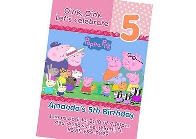 Peppa Pig Birthday Invitation 24hr Service UPRINT 4x6 or 5x7