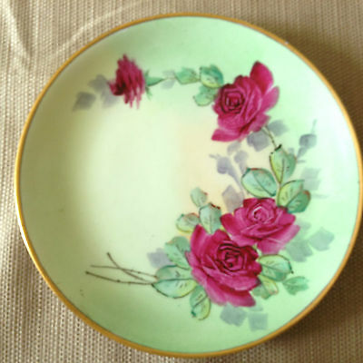 JHR Hutschenreuther Selb Bavaria Germany Rose Plate w/Gold Trim Signed
