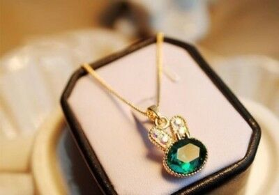 Sea Green Crystal Rabbit Fashion Gold Colour Necklace Pendent Chain Gift UK