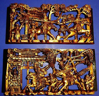 W11 Pair of Antique 1800s Chinese gilt wooden tri-levels carved warriors panels