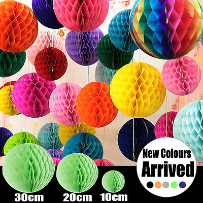 Tissue paper pom pom honeycomb ball lantern wedding party home decor AU Stock