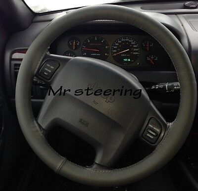 For Jeep Grand Cherokee Wj Mk2 Dark Grey Leather Steering Wheel Cover 99-05