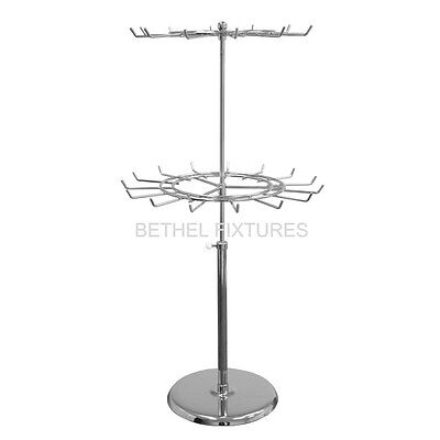 2‐TIER REVOLVING COUNTER TOP WIRE DISPLAY STAND - MORE HOOKS