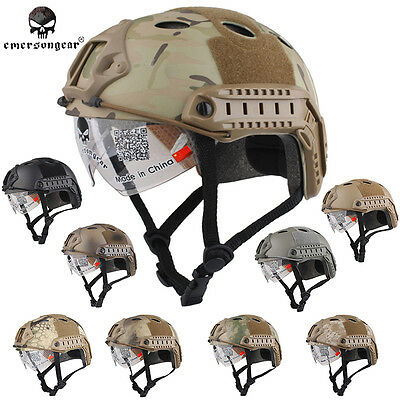 Airsoft Tactical Emerson FAST Helmet with Protective Goggle PJ EM8819 - 9 colors