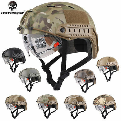 Emerson Airsoft Tactical FAST Helmet with Protective Goggle BJ EM8818 - 9 Colors