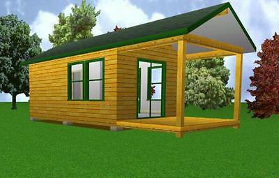 12x20 Starter Cabin w/ Covered Porch Plans Package, Blueprints, Material List