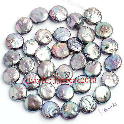 """12mm Natural Mixed Freshwater Pearl Coin Shape Gems Loose Beads Strand 15"""""""