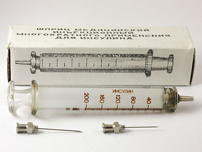 Vintage Russian Reusable hypodermic glass syringe 5 ml