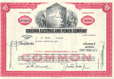 USA Amerika Virginia Electric and Power Company alte Aktie 1974 deko