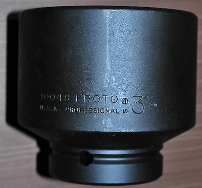 """Proto® 1"""" Drive Impact Socket Size: 3 """"IN Hex - 6 Point Made in USA Proto J10048"""