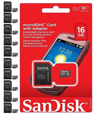 Lot of 10 SanDisk 16 GB 16G MicroSDHC SD TF Flash Memory Card New Retail Package