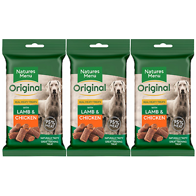 Natures Menu Dog Treats with Lamb 3 Packs 95% Real Meat Biscuits & Cookies