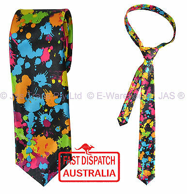 Bright Colorful Satin Skinny Party Dance Disco Costume Neck Tie Paint Ink Splash