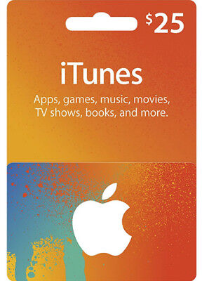 $25 iTUNES GIFT CERTIFICATE CARD Geschenkkarte US APPLE iPhone iPod Key Code