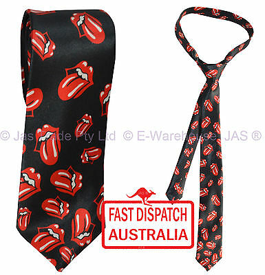 Satin Skinny Rolling Stones Tongue Party Dance  Disco Music Costume Neck Tie