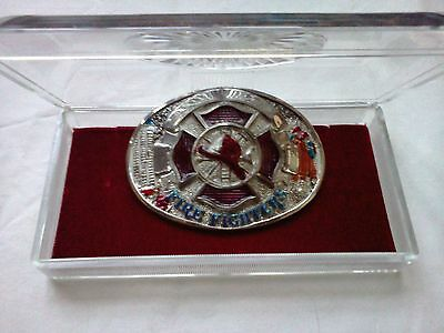 Collectible FIREFIGHTERS BELT BUCKLE With Case - Chrome Plated and Hand Painted