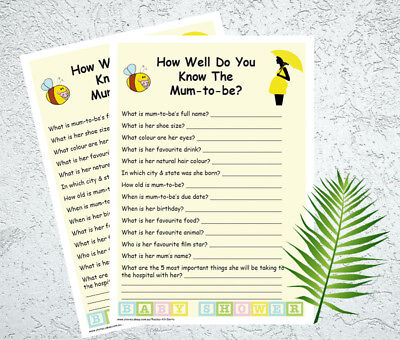 How Well Do You Know The Mum To Be? Baby Shower Game For 20 Players